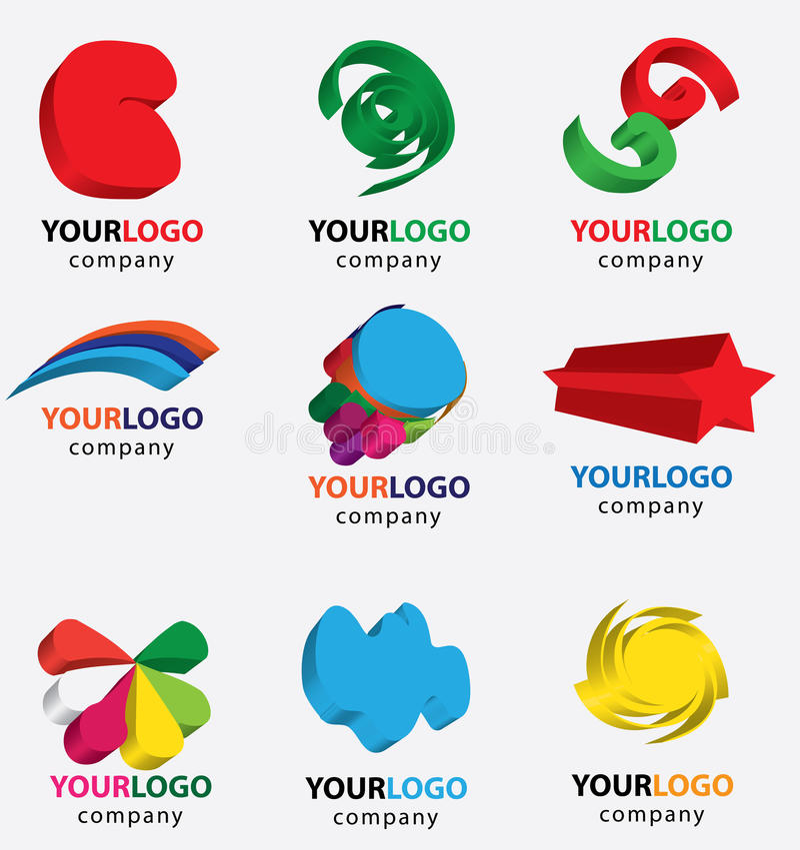 Símbolo abstrato do logotipo 3d ilustração stock