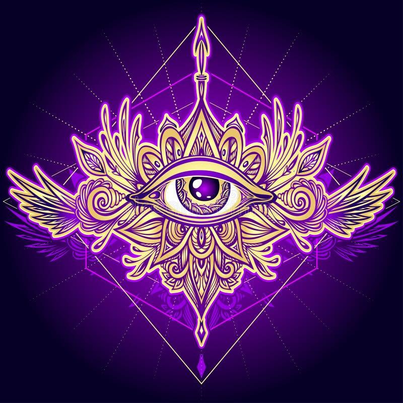 S?mbolo abstrato do olho devista no ouro do estilo de Boho na violeta ilustração royalty free