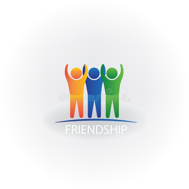 Símbolo acertado feliz del icono de la gente del logotipo de la imagen del vector de la amistad stock de ilustración