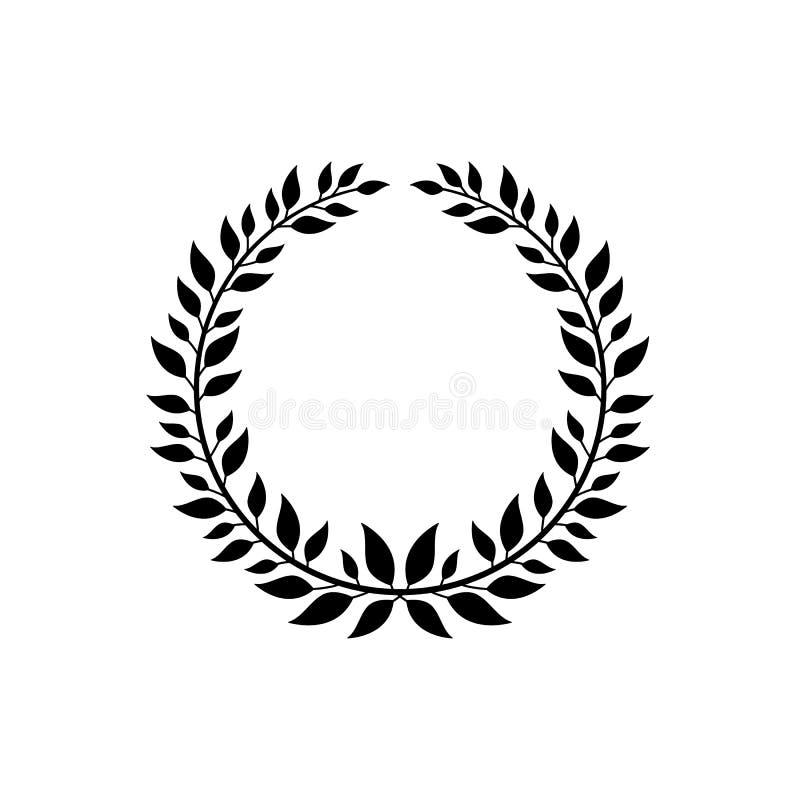 Símbolo adornado de la guirnalda de la victoria, símbolo negro del laurel para el premio del campeón stock de ilustración