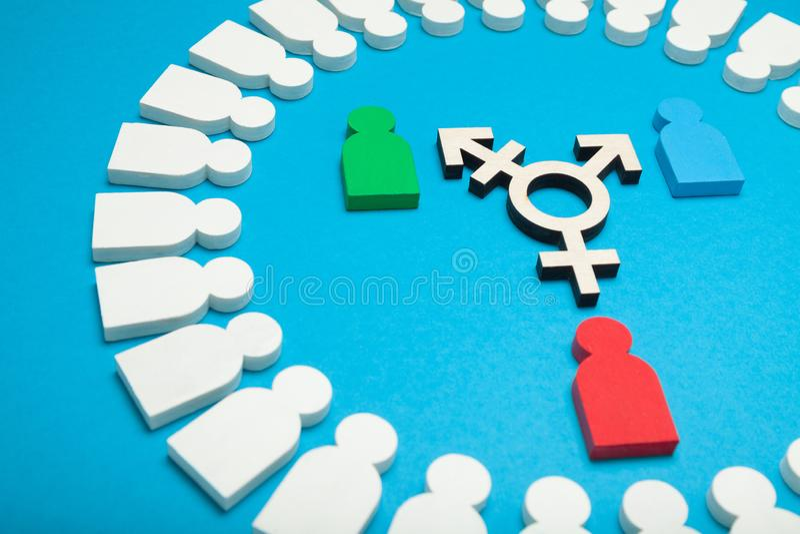 Símbolo adulto del transexual, concepto bisexual del muchacho foto de archivo