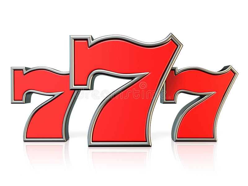 Símbolo afortunado 3D del bote del rojo 777 libre illustration