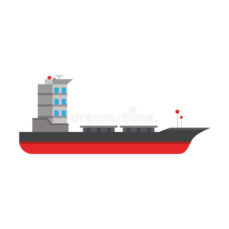 Símbolo aislado barco vacío de la nave del carguero ilustración del vector