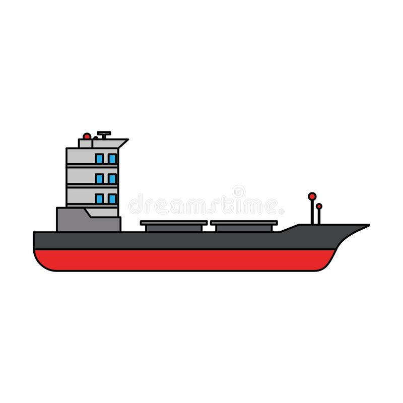 Símbolo aislado barco vacío de la nave del carguero stock de ilustración