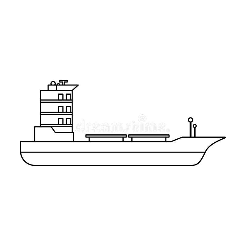 Símbolo aislado barco vacío de la nave del carguero en blanco y negro libre illustration