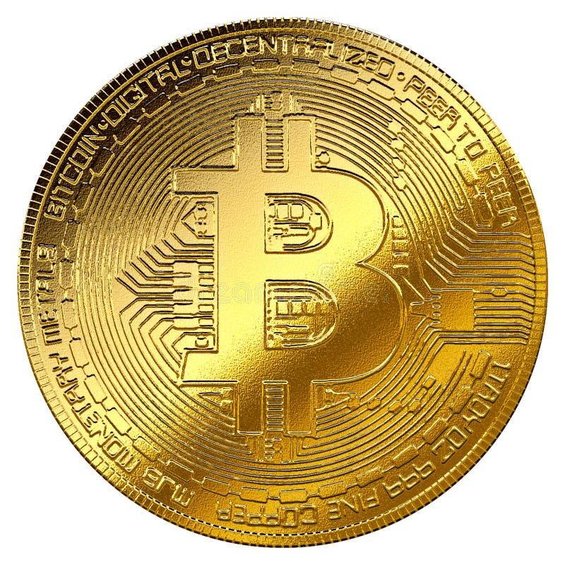 Símbolo aislado cryptocurrency de Internet del fondo del bitcoin del oro libre illustration