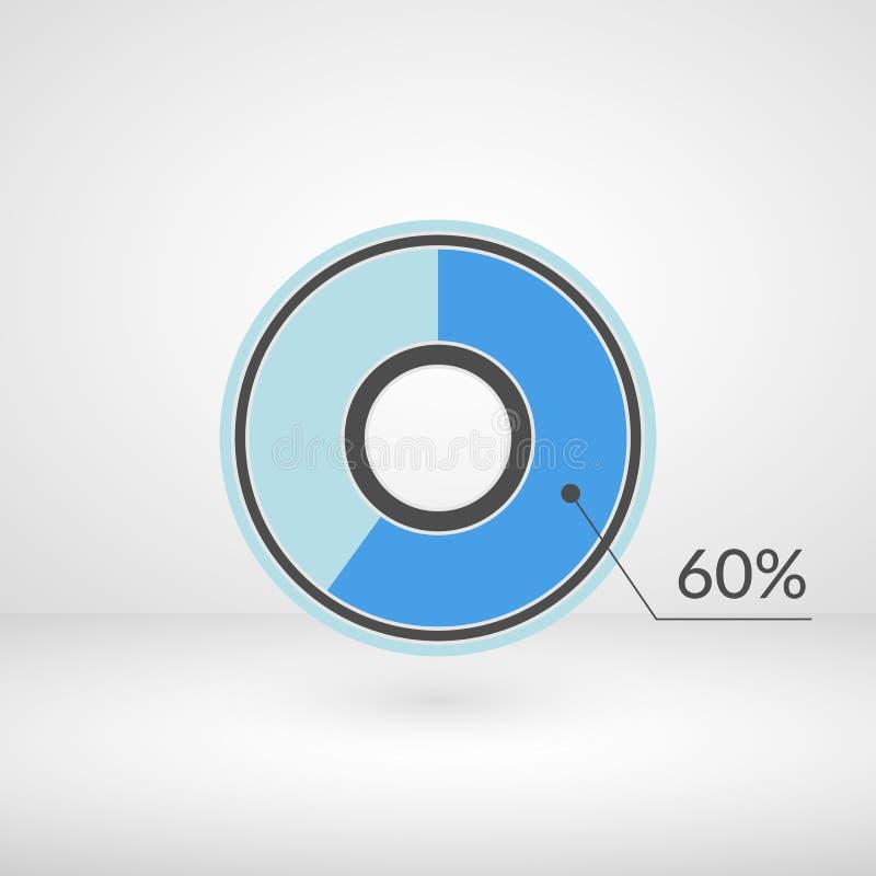 símbolo aislado del gráfico de sectores del 60 por ciento Icono infographic del vector del porcentaje para las finanzas, diseño,  stock de ilustración