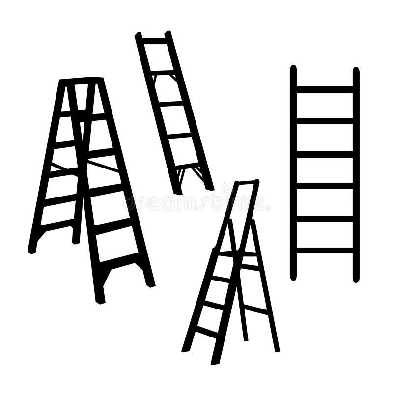 Símbolo aislado ejemplo de la muestra de la silueta de la escalera ilustración del vector