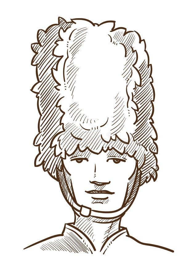 Símbolo aislado guardia real británico de Reino Unido del retrato del bosquejo stock de ilustración