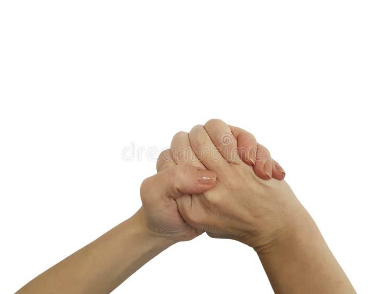 Símbolo aislado mano femenina del apretón de manos foto de archivo