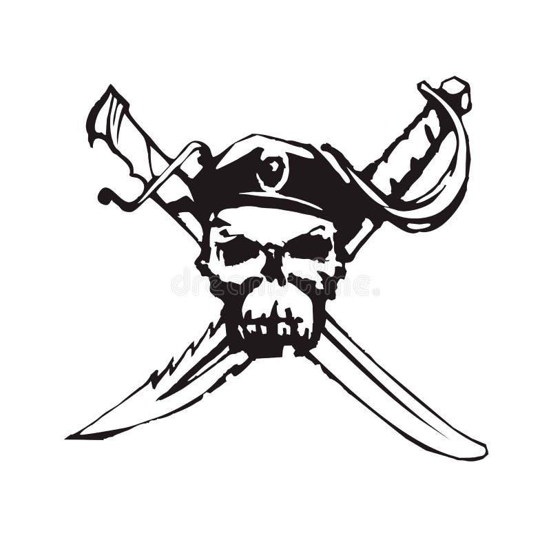 Símbolo alegre preto handdrawn do pirata de Roger do vetor ilustração stock