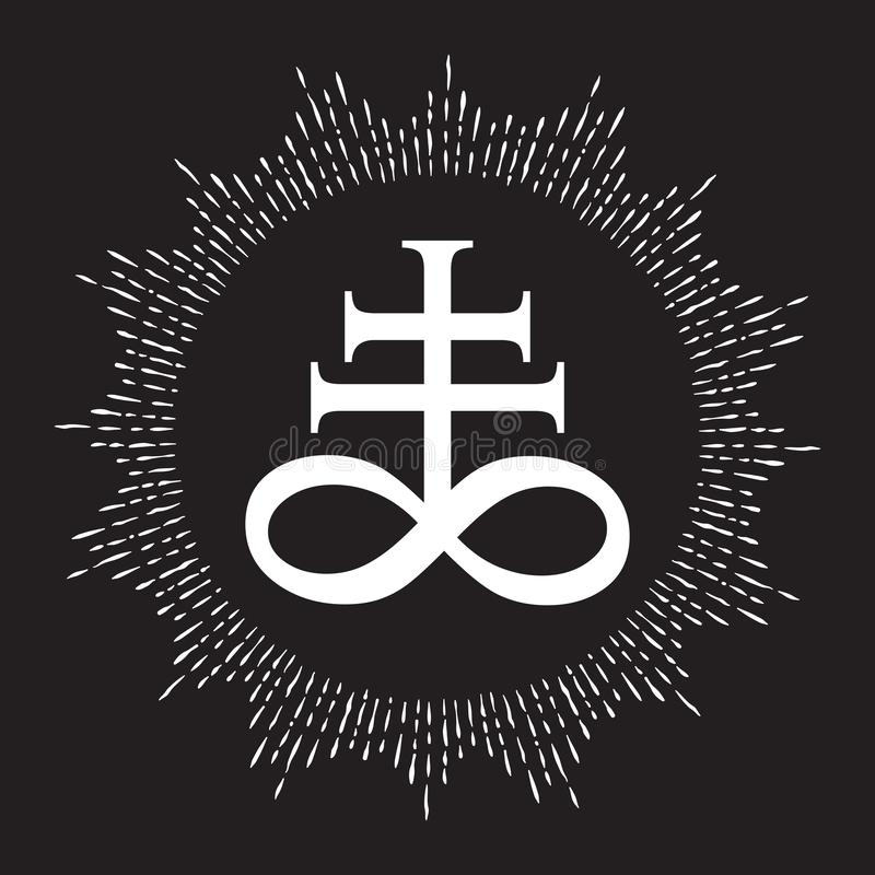 Símbolo alquímico de la cruz exhausta del leviatán de la mano para el azufre, asociado al fuego y al azufre del infierno Blanco y stock de ilustración