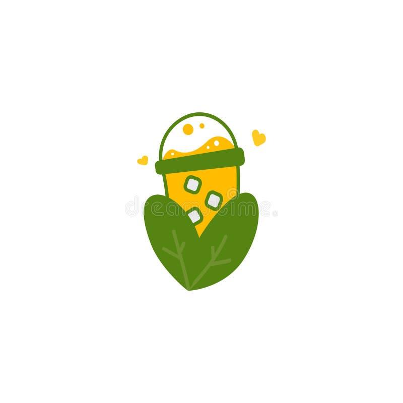 Símbolo amarelo da ilustração do ícone do logotipo da natureza da bebida do milho doce do suco ilustração stock