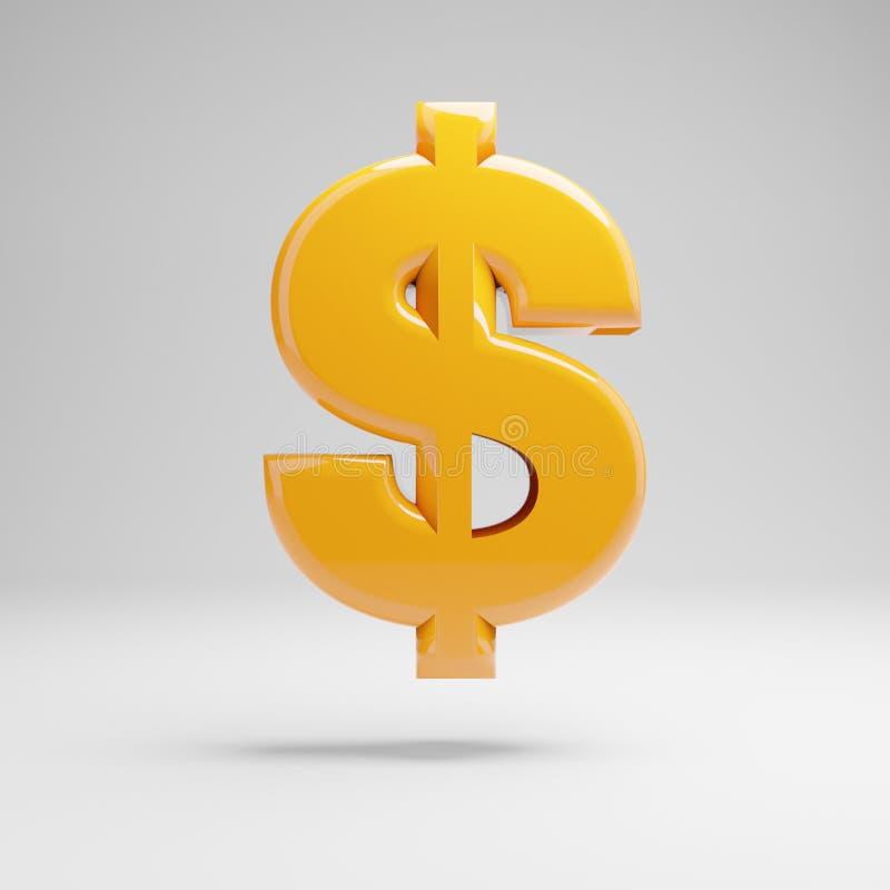 Símbolo amarelo lustroso do dólar isolado no fundo branco ilustração royalty free