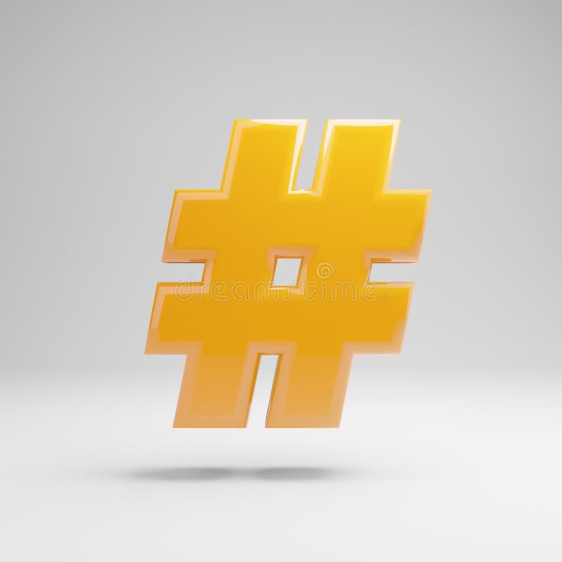 Símbolo amarelo lustroso do hashtag isolado no fundo branco ilustração royalty free