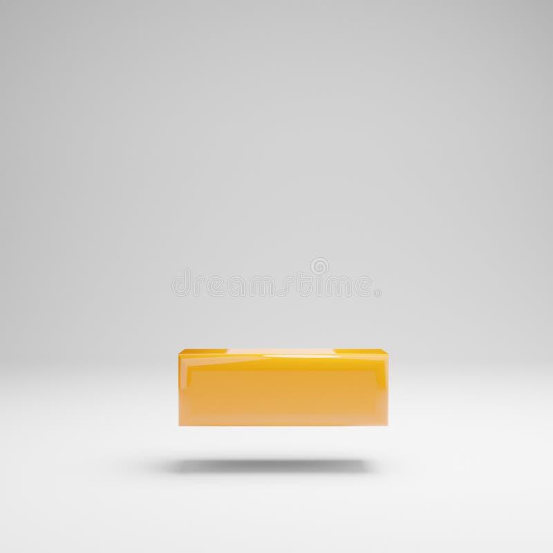 Símbolo amarelo lustroso do traço isolado no fundo branco ilustração do vetor