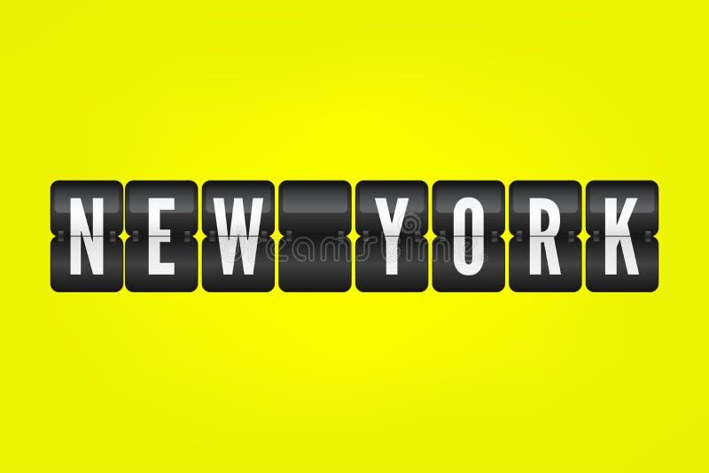 Símbolo americano del tirón de la ciudad de Nueva York Ejemplo del marcador del vector Muestra blanco y negro del aeropuerto en f libre illustration