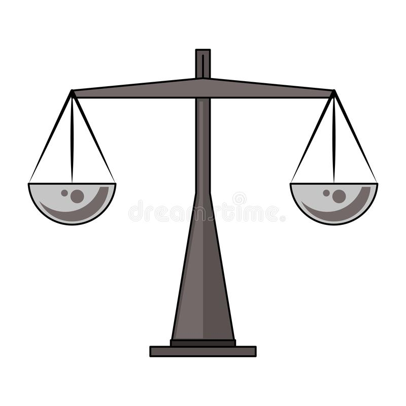 Símbolo antiguo de la balanza del peso aislado libre illustration