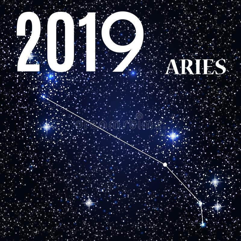 Símbolo: Aries Zodiac Sign con el Año Nuevo y la Navidad 2019 Ilustración del vector libre illustration