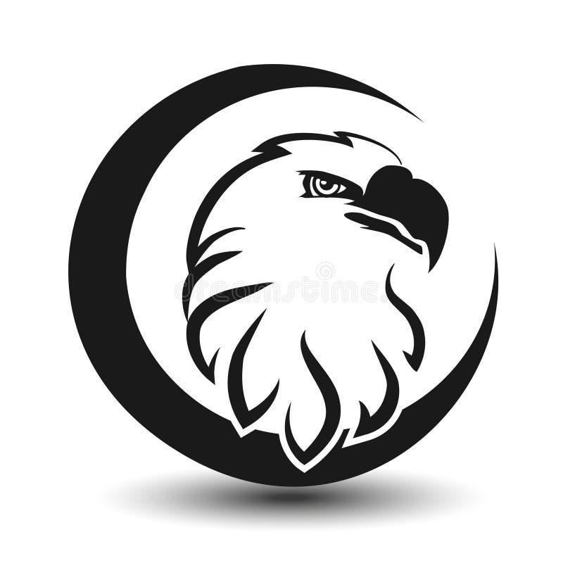 Símbolo arredondado da águia, cabeça preta do esboço ilustração do vetor