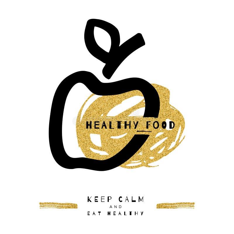 Símbolo artístico da maçã, conceito saudável do alimento Ícone na moda, cartão, inseto ilustração stock