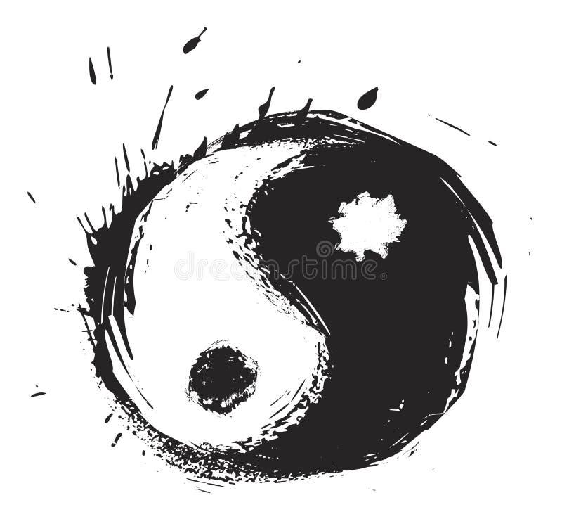 Símbolo artístico de yin-yang stock de ilustración