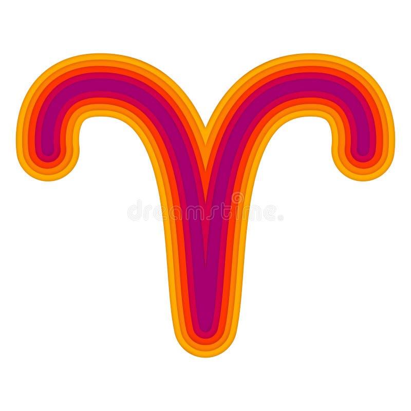 Símbolo astrológico del corte del papel del vector del aries ilustración del vector
