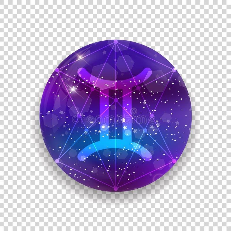 Símbolo astrológico dos Gêmeos Sinal ocidental brilhante do horóscopo do zodíaco do vetor do sumário ilustração do vetor