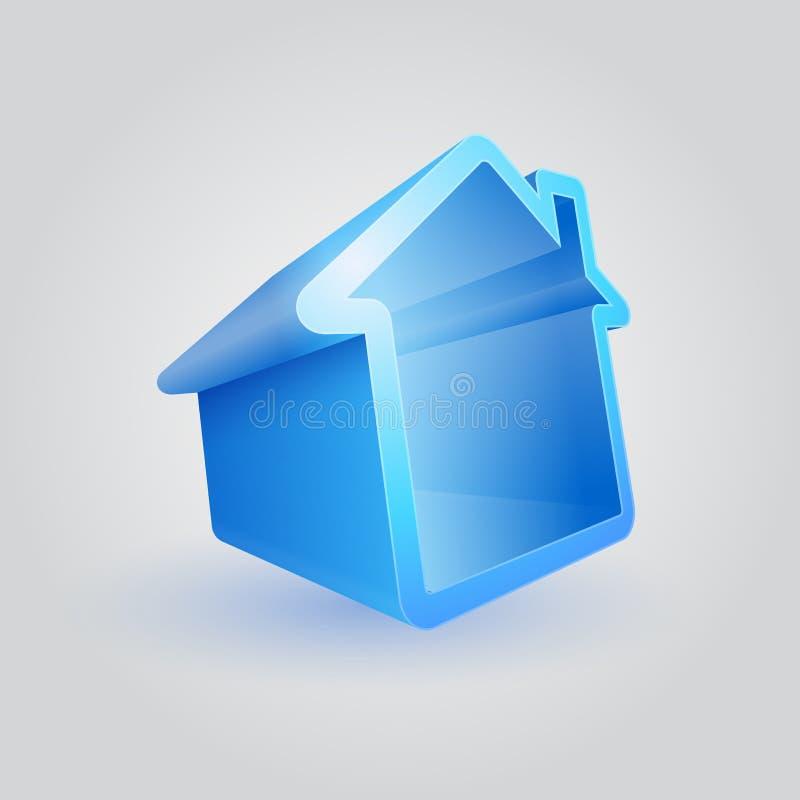 Símbolo azul da casa ilustração do vetor