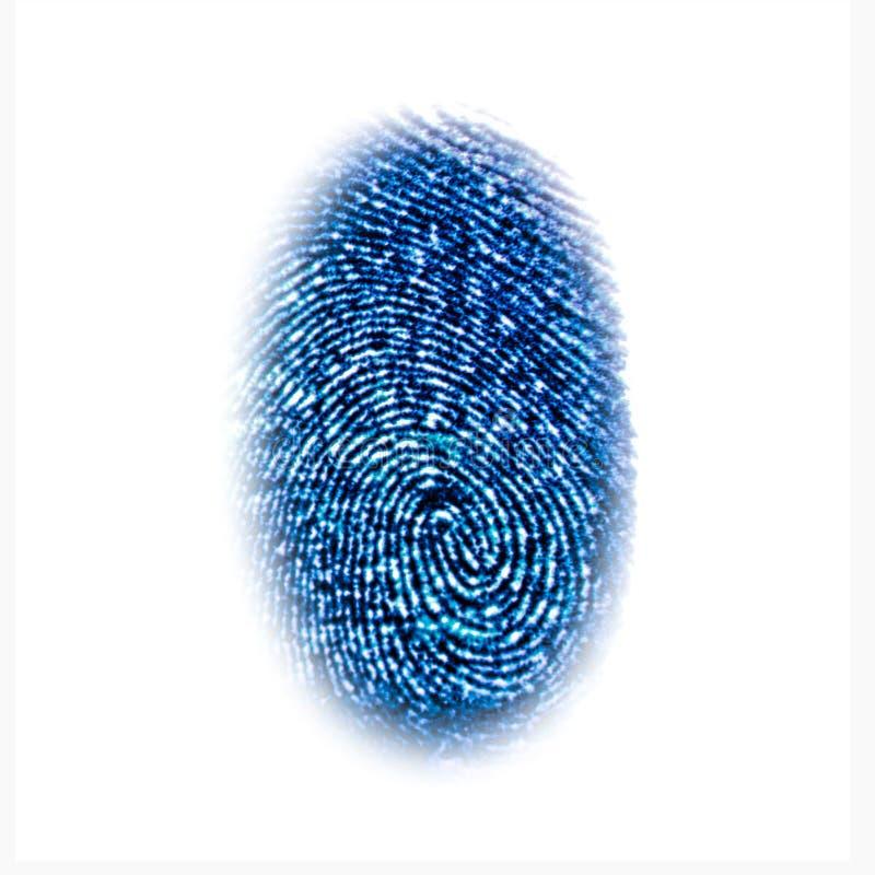 Símbolo azul de la identificación de la huella dactilar aislado en blanco ilustración del vector