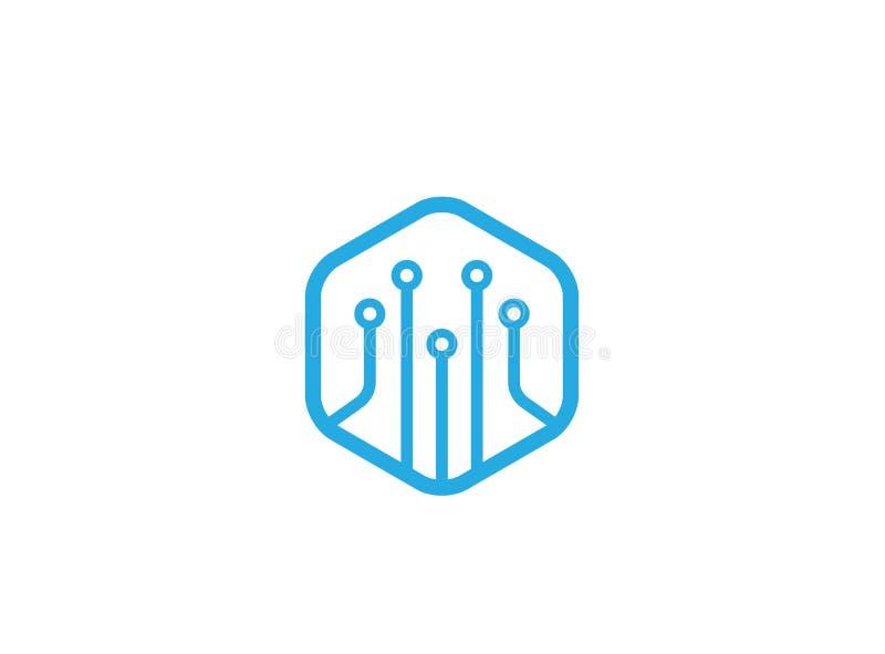 Símbolo azul de la tecnología del hexágono para el ejemplo del diseño del logotipo libre illustration