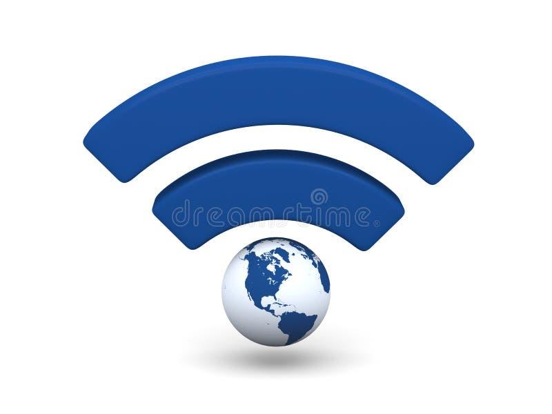 Símbolo azul de WiFi stock de ilustración
