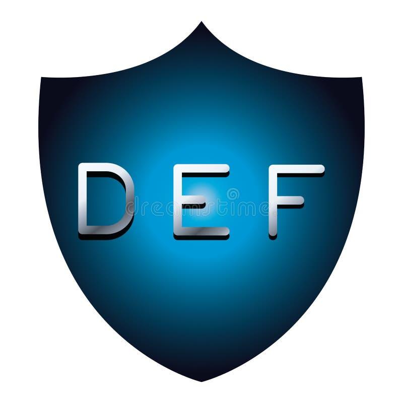 S?mbolo azul del escudo de la seguridad de las letras de la fuente del alfabeto de DEF ilustración del vector