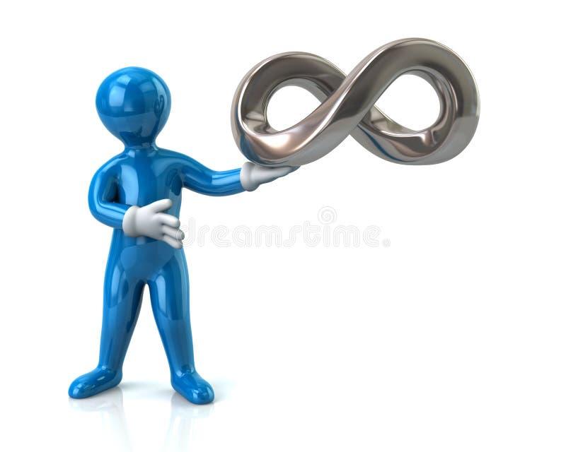 Símbolo azul del hombre y del infinito stock de ilustración