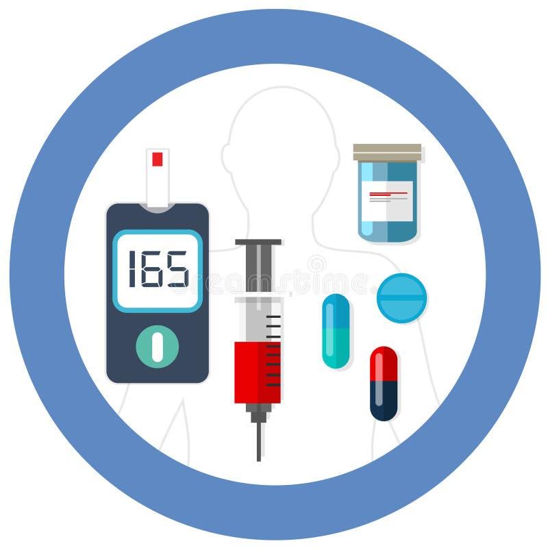 Símbolo azul do círculo do dia do diabetes do mundo com cuidados médicos da farmácia da droga da insulina do teste da glicemia do ilustração royalty free
