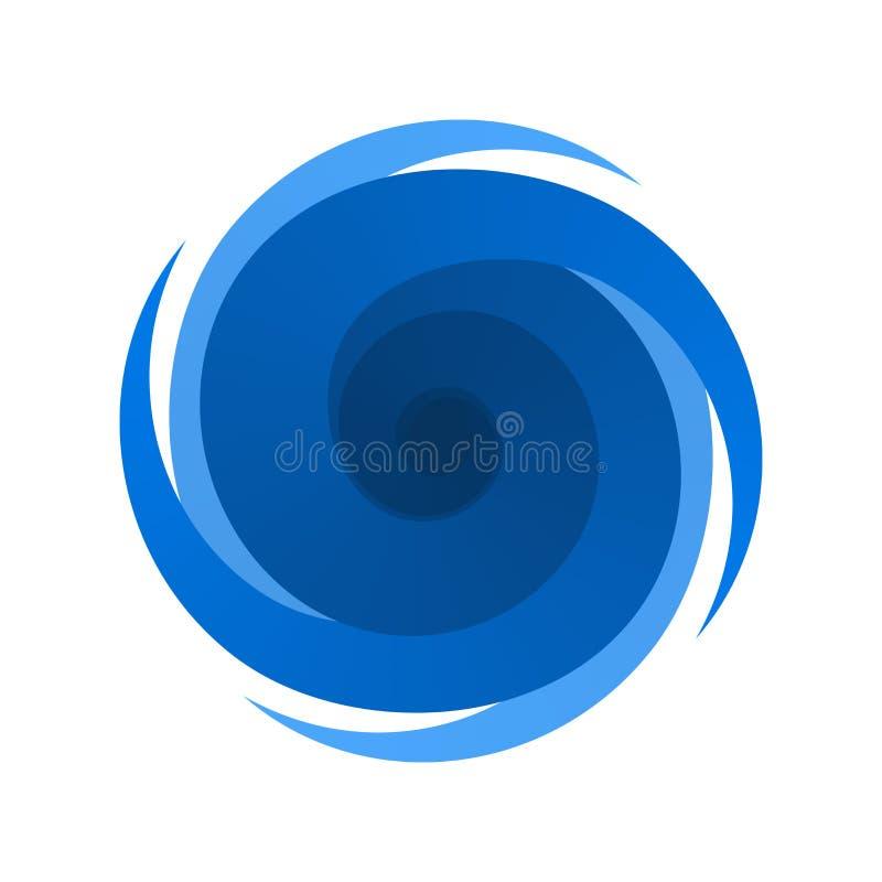 Símbolo azul, muestra de una tormenta, huracán ilustración del vector