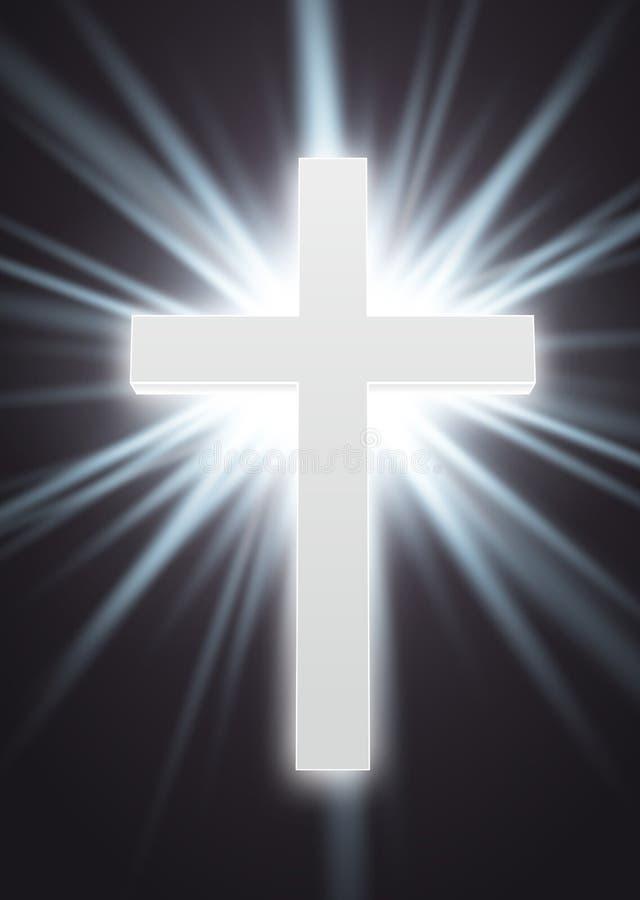 Símbolo blanco que brilla intensamente EPS 10 de la religión ilustración del vector