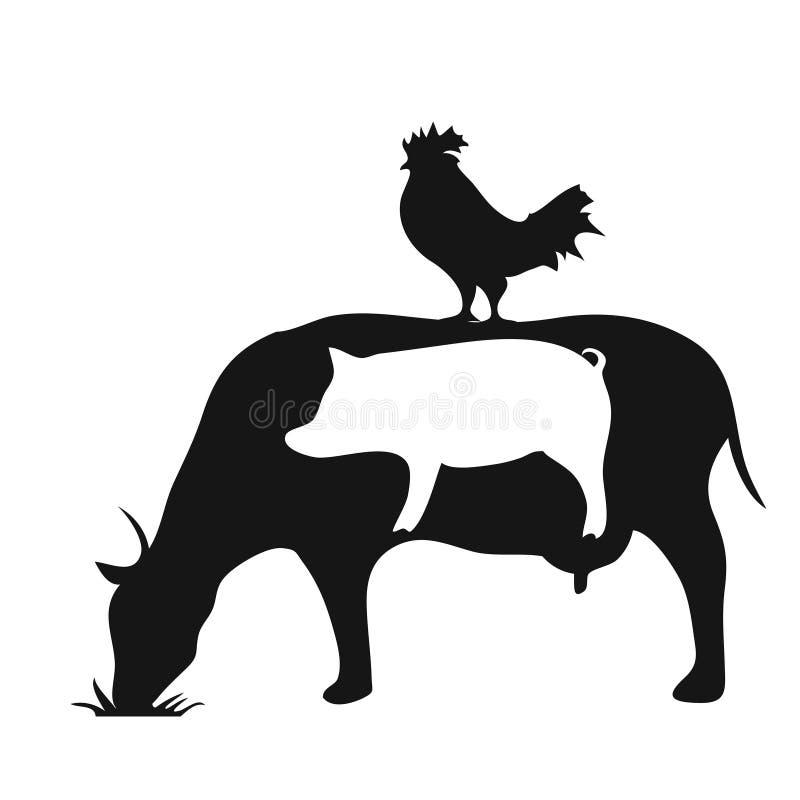 Símbolo blanco y negro de la silueta del pollo de la vaca del cerdo de los animales del campo stock de ilustración