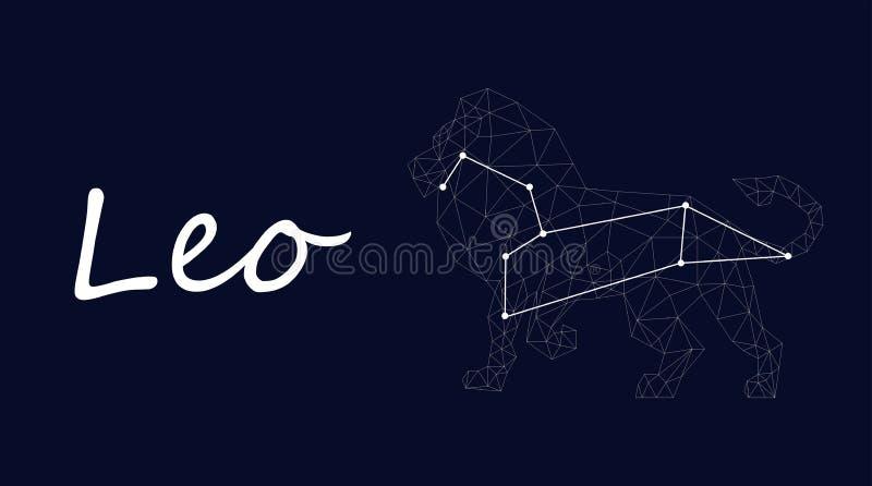 Símbolo branco da constelação de leo em um fundo azul profundo cercado por linhas e por estrelas ilustração royalty free