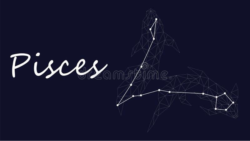 Símbolo branco da constelação de pisces em um fundo azul profundo cercado por linhas e por estrelas ilustração stock