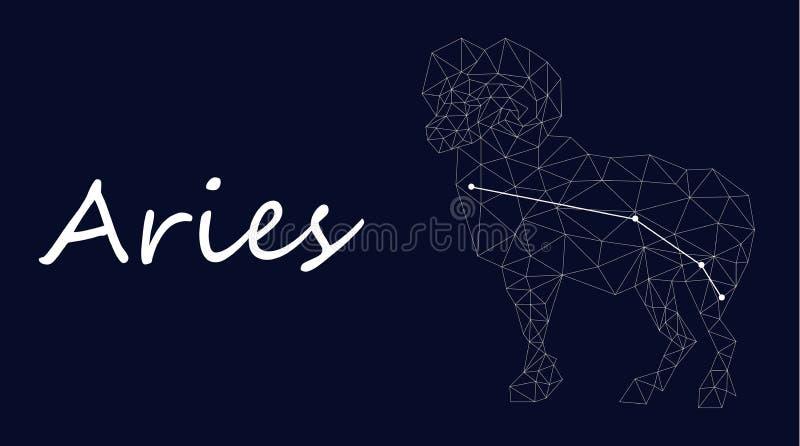 Símbolo branco da constelação do aries em um fundo azul profundo cercado por linhas e por estrelas ilustração stock