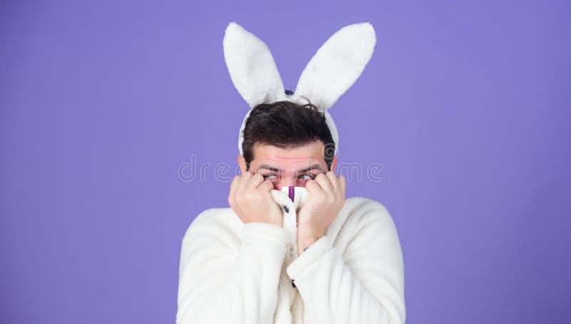 Símbolo branco do coelho do feriado de easter Macio e macio Indivíduo com as orelhas longas do coelho ou de coelho no fundo viole fotografia de stock