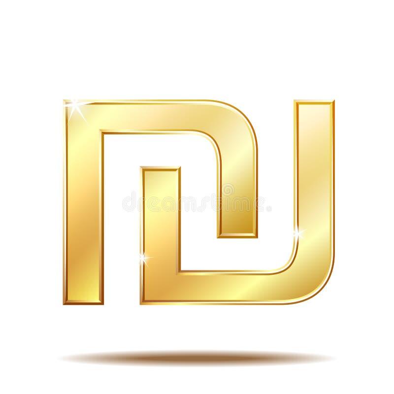 Símbolo brilhante dourado da moeda israelita do shekel ilustração stock