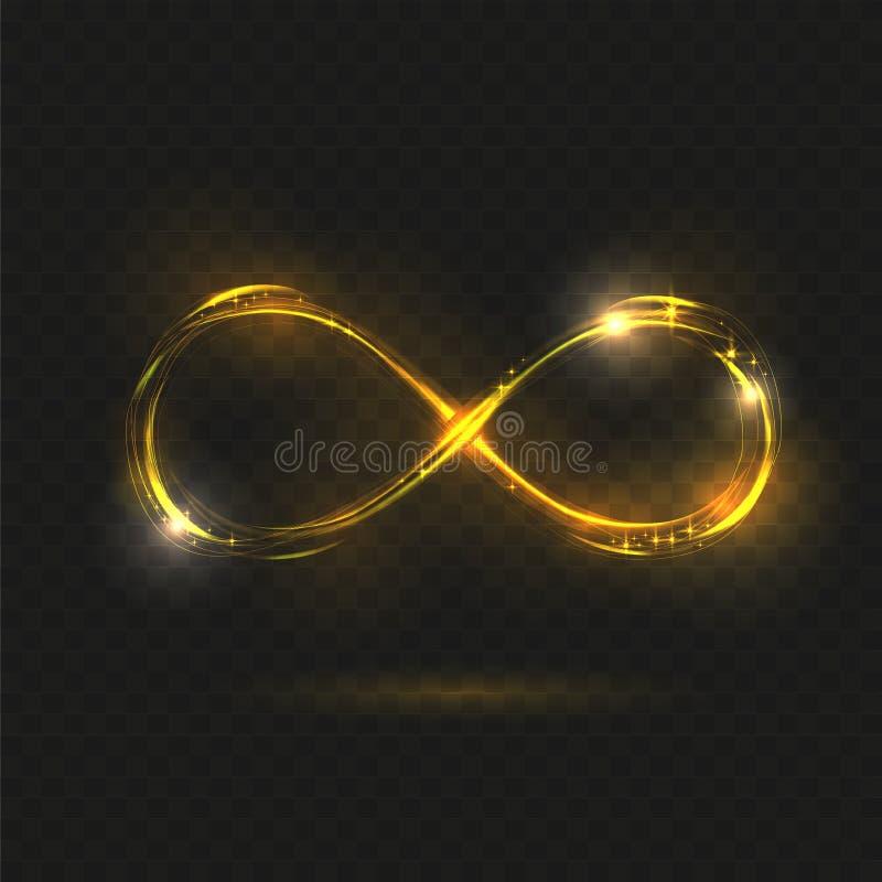 Símbolo brillante del infinito del oro Muestra transparente Ilustraci?n del vector Línea ondulada del brillo del fuego del espira stock de ilustración