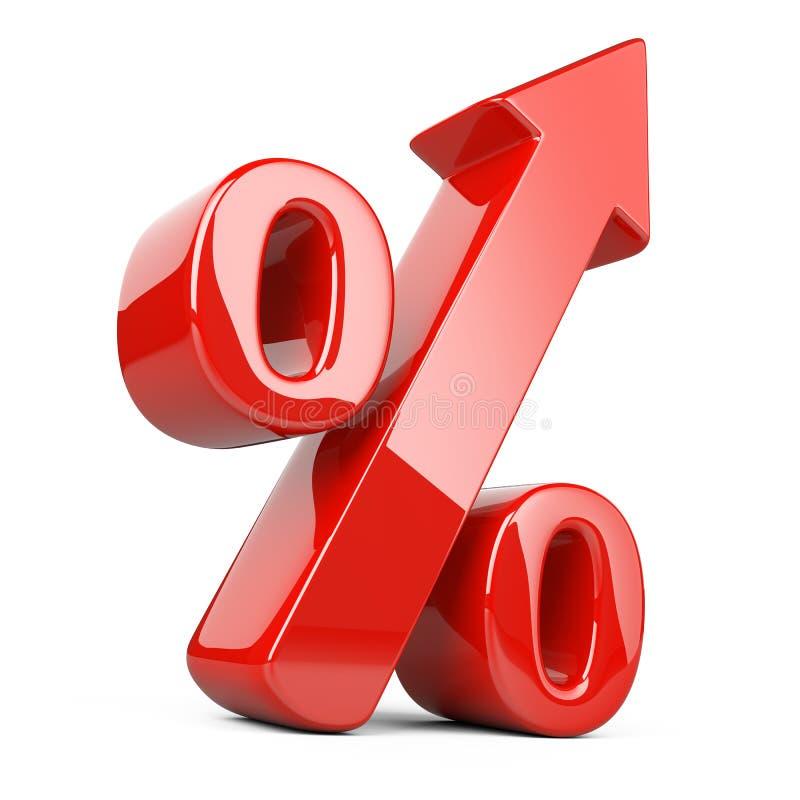 Símbolo brillante y brillante rojo del por ciento con una flecha para arriba Negocio g ilustración del vector