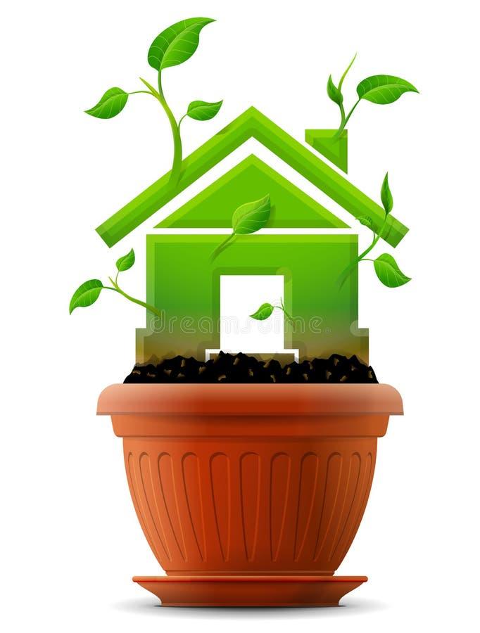 Símbolo cada vez mayor de la casa como la planta con las hojas en maceta ilustración del vector