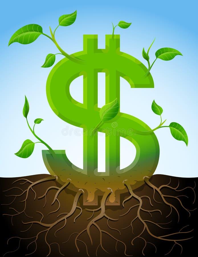 Símbolo cada vez mayor del dólar como la planta con las hojas y r ilustración del vector
