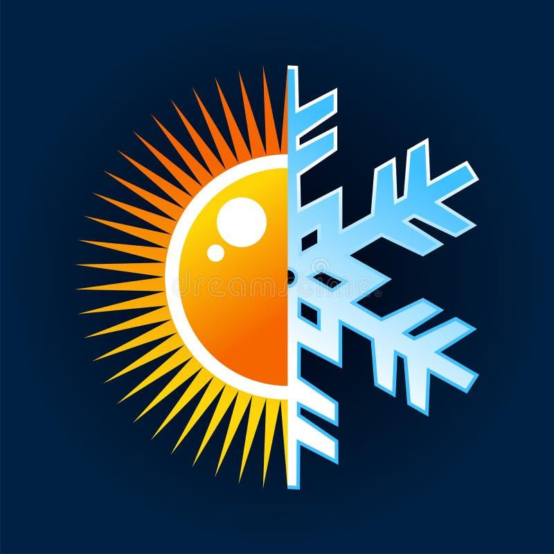 Símbolo caliente y frío de la temperatura stock de ilustración