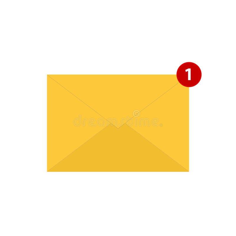 Símbolo cerrado del correo electrónico con un mensaje Ejemplo del vector del icono del correo aislado en el fondo blanco ilustración del vector