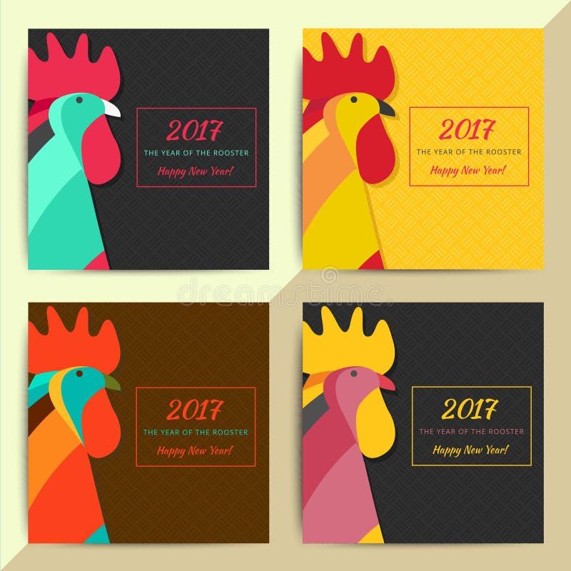 Símbolo chinês do galo do horóscopo Sinal criativo do ano novo 2017 ilustração royalty free